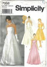 Simplicity Pattern 7068 Wedding Bridesmaid Evening Gown Misses Szs 6 - 12 Uncut