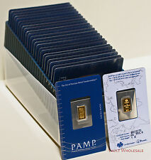 Fifty (50) one gram PAMP Suisse bars in assay cards 999.9 pure gold FREE ship