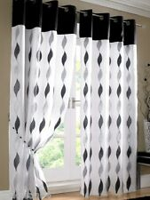 "PAIR BLACK WHITE RING TOP EYELET VOILE LINED CURTAINS DRAPES 58"" X 72"""