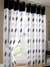 Paire noir blanc anneau oeillet voile doublé rideaux 147cm x 183cm