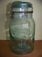 Nice RARE Corning aqua blue wire top glass quart Telephone canning fruit jar