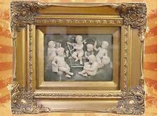 Relief 6 Amoretten Engel goldfarbenen viereckigen Rahmen Miniaturen Silhouette