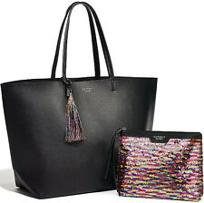 Victoria's Secret Limited Edition Black Faux Leather Tote & Sequin Makeup Bag