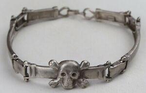 BIKER Bracelet STERLING Silver 925 Skull BONEs Celtic GOTHIC 22.89 g JEWELRY Art