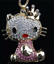 Betsey Johnson Necklace Hello Kitty Gold Crown Punk Crystals