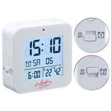 Reisewecker: Funk-Wecker mit 2 Weckzeiten, Thermo-Hygrometer, Lichtsensor, weiß
