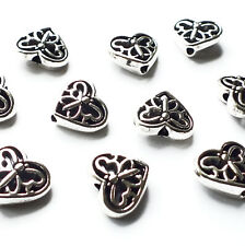 10 x Heart Butterfly Beads Charms 12mm Silver tone Jewellery Craft Hole 1.8mm
