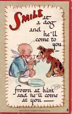 """Tuck & Sons Series No. 169 """"Smiles"""" Smile at a dog and he'll come to you"""