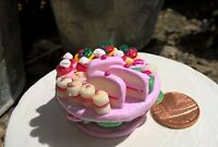 Dolls house food miniature Pink Rose cake stand filled with cakes 1/12 OOAK