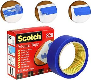 Powerful Adhesion Scotch Secure Mailing Tamper Tape 820 Blue 1 Roll 35 mm x 33 m