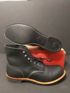 """RED WING MEN'S  6"""" 8111 IRON RANGER BLACK HARNESS LEATHER BOOTS SIZE: 11"""