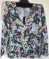 New Pierri New York Women LARGE Cardigan Multi color Sweater stretched knit