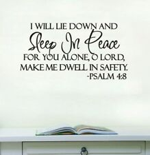 Psalm 4:8 wall decal sticker bedroom home decor
