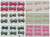 200 Flatback Resin Bowknot Bows Dotted Rhinestone Cabochon 13X7mm Color Choice