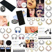 Vintage Women Rhinestone Crystal Nose Lip Bar Ring Studs Piercing Body Jewelry
