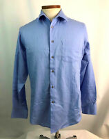 Geoffrey Beene 15 1/2 34/35 Mens Dress Shirt Blue Fitted Wrinkle Free Checks L/S