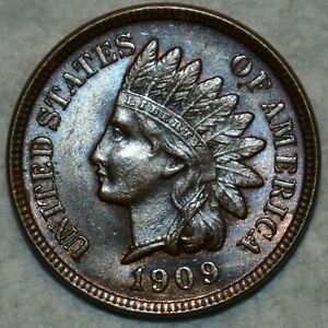 Brilliant Uncirculated 1909 Indian Head Cent, Attractively toned specimen