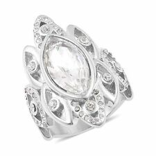 MARQUISE WHITE CLEAR GLASS AUSTRIAN CRYSTAL ACCENT STATEMENT RING SIZE 8
