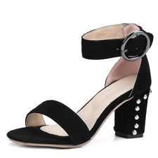 Women's Gladiator Ankle Strappy Spike Rivet Open Toe Square Heel Sandals Shoes