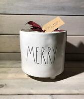 "Rae Dunn by Magenta MERRY Ceramic Christmas Footed Planter (Medium, 6"") ~ NWT"
