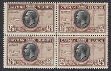 CAYMAN ISLANDS 1935 SG96 ¼d BLACK & BROWN UNMOUNTED MINT BLOCK OF FOUR