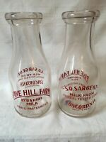 2 Vintage Pint Milk Bottles Pine Hill Farm Dairy Concord New Hampshire Sargent