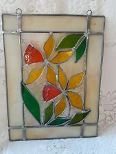 VINTAGE STAINED GLASS DAFFODIL FLOWER HANGING SUNCATCHER 8 X 11 EXCELLENT