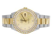 Mens Rolex 18K/ Steel Datejust Two Tone Oyster 36MM 16013 Diamond Watch 2.5 Ct
