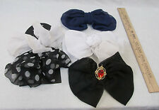 5 Decorative Bows On Barrettes Clips Hair Accessories Black Navy White Polka Dot