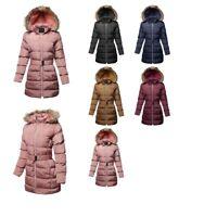 FashionOutfit Women's Solid Faux Fur Lining Elastic Waist Belt Long Jacket