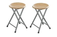 Set Of 2 Wood Veneer Folding Stool Chair Foldable Seat Chair Silver Frame