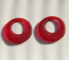 Donut Ring Pendant Beads, Cherry Red w/Sea Glass Finish, 28mm, 2 Pieces