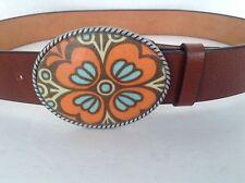 Genuine Leather Art  Brown Designer Belt Multicolor Metal Buckle Sz 34/40 Unisex