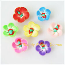 10Pcs Mixed Polymer Fimo Clay Star Flower Spacer Beads Charms 15mm