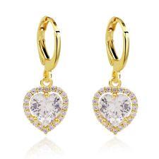 Elegant Ladies Drop Earrings Real 18K Gold Filled Sweet Heart Cubic Zircon