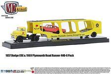 1:64 M2 Machines AUTO-HAULERS R20B 1957 Dodge COE Semi Car Carrier w/Road Runner
