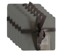 Set of 6 Grey Solid Wood Drink Coasters Wooden Dining Table Coaster