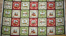"Christmas Bells Multi Squares Christmas Fabric 23"" Panel Repeat    #26101"