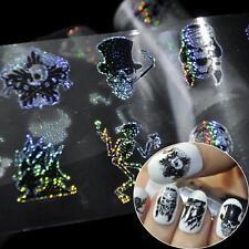 100*4cm Punk Zombie Design Nail Foil Stickers Glue Transfer Skull Head Decor W
