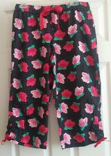 "NWOT Juniors ""Xhilaration"" Black With Pink Floral Print Cropped Sleep Pants-Med."