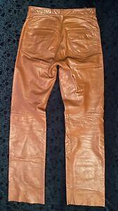 Wilson Suede & Leather Pelle Studio Jeans Pants Tan Light Caramel Brown 32 x 33