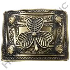 H M Men's Kilt Belt Buckle Irish Shamrock Celtic Knot Work Brass Antique Finish