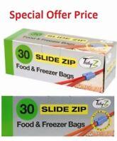 Tidy Z 30 Slide Zip Large Fridge Freezer Food Bags Strong Resealable 17cm X 19cm