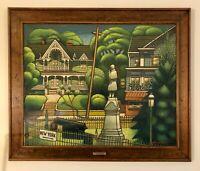 """Larry Edwardson (Listed Artist) """"Memorial Day Sag Harbor"""" Oil on Masonite"""