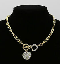 Fashion Gold Chain Diamonde Rhinestone Heart Chunky Choker Necklace Jewelry UK