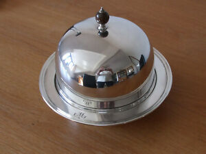 Vintage silver plated dome-covered muffin warming dish, with M monogram
