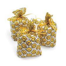 24 Festive SmileY EMOJI HAPPY Face CELLOPHANE birthday Party favor loot bags