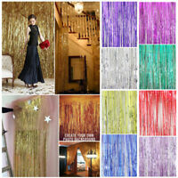 1M Romantic Metallic Foil Tinsel Fringe Curtain Photo Backdrop Party Room Decor