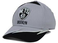 BROOKLYN NETS - ADIDAS NBA YOUTH BOY'S WAVE FLEX FIT BLACK GRAY HAT One Size