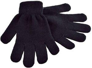 1 or 2 Pairs Black Magic Gloves Kids Boys Girls Children Winter Warm Stretch